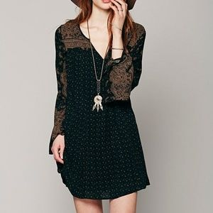 Free People Dream Daze Paisley Shift Dress Black
